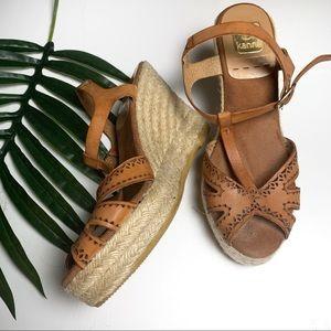 Kanna Leather Wedge Espadrille Sandals